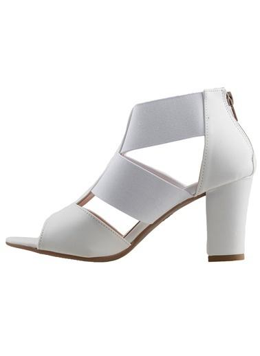 Ayakland Ayakland 811-50 Cilt 7 Cm Topuk Bayan Sandalet Ayakkabı Beyaz